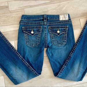 True Religion Gold Swarovski Straight Leg Jeans